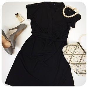 GAP Little Black Cap Sleeve Dress Waist Tie